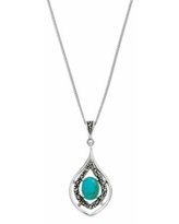 """""""Tori Hill Sterling Silver Simulated Turquoise & Marcasite Teardrop Pendant Necklace, Women's, Size: 18"""""""""""