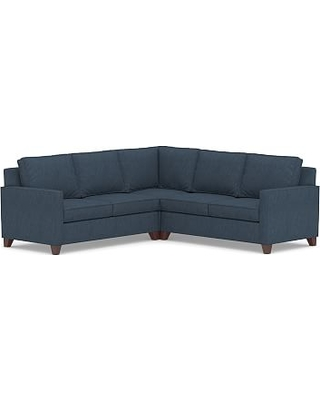 Cameron Square Arm Upholstered 3-Piece L-Shaped Corner Sectional, Polyester Wrapped Cushions, Performance Heathered Tweed Indigo
