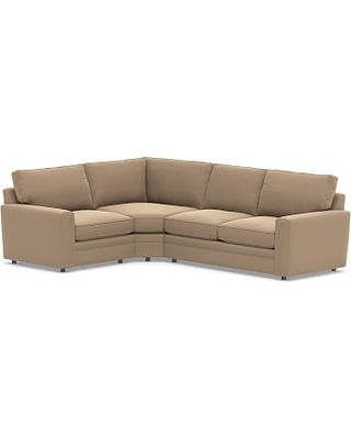 Pearce Square Arm Upholstered Right Arm 3-Piece Wedge Sectional, Down Blend Wrapped Cushions, Performance Plush Velvet Camel
