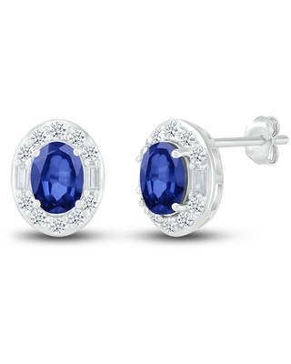 Jared The Galleria Of Jewelry Lab-Created Sapphire Stud Earrings Sterling Silver