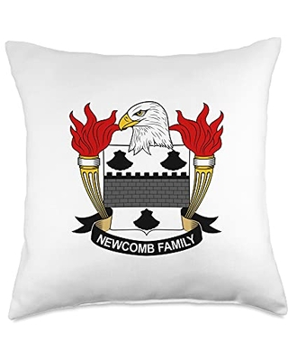 Family Crest and Coat of Arms clothes and gifts Newcomb Coat of Arms - Family Crest Throw Pillow, 18x18, Multicolor