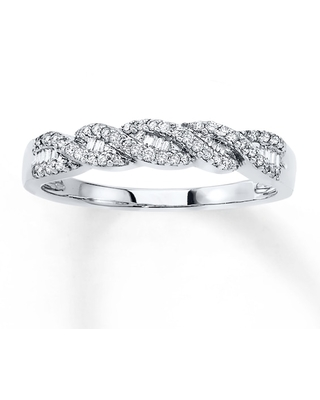 Diamond Stackable Ring 1/5 ct tw Round/Baguette 10K White Gold