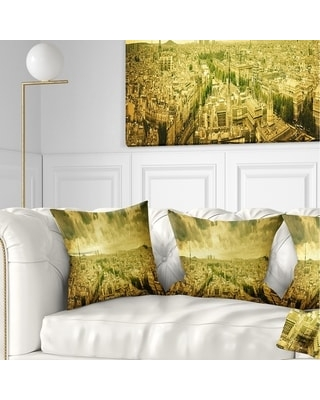 Amazing Deal On Designart Paris Panorama With Scenic Sky Skyline Photography Throw Pillow Square 18 In X 18 In Medium