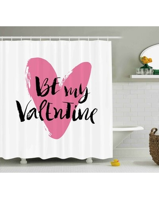 """Valentines Day Be My Valentine Quote With Romantic Cartoon Like Heart Love Image Single Shower Curtain The Holiday Aisle® Size: 69"""" W x 84"""" H"""