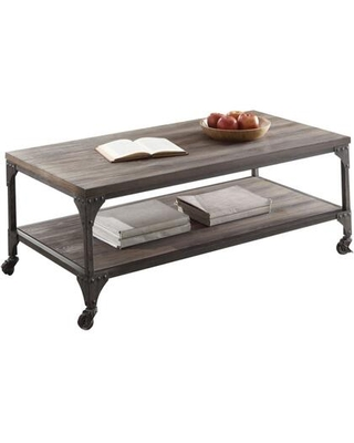 BM186970 Industrial Style Rectangular Wood and Metal Coffee Table With Open Shelf