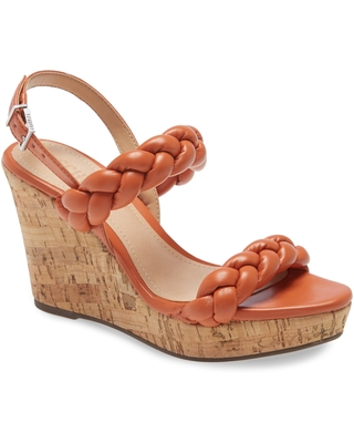 Schutz Zaria Wedge Sandal, Size 6.5 in New Ochre Leather at Nordstrom