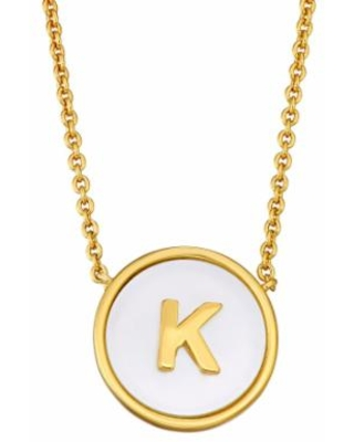 """""""Mother of Pearl Initial Pendant Necklace, Women's, Size: 18"""", Gold"""""""