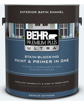 BEHR ULTRA 1 gal. #BL-W10 Maui Mist Satin Enamel Exterior Paint and Primer in One