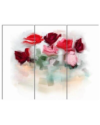 """Design Art 'Rose Floral Watercolor Illustration' 3 Piece Painting Print on Wrapped Canvas Set, Canvas & Fabric in White, Size Medium 25""""-32"""" Wayfair"""