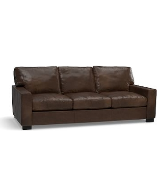 """Turner Square Arm Leather Sofa 85.5"""", Down Blend Wrapped Cushions, Vintage Cocoa"""