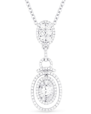 18K White Gold Pendant-Necklace with 1.36-ct Oval White Diamonds
