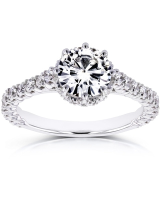 Annello by Kobelli 14k White Gold 8-prong 1 3/5ct TCW Forever One Moissanite and Diamond Engagement Ring (9)