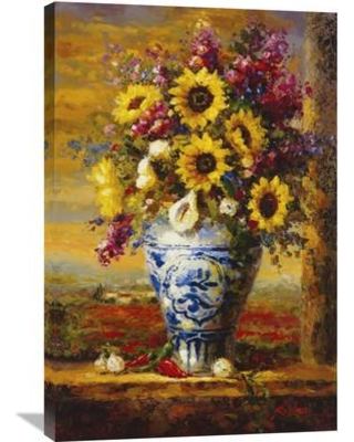 """Global Gallery 'Tuscan Sunflowers' by Hong Painting Print on Wrapped Canvas GCS-128099 Size: 36"""" H x 24"""" W x 1.5"""" D"""