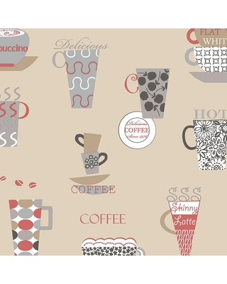 Here S A Great Deal On Norwall Coffee Time Vinyl Strippable Roll Wallpaper Covers 56 Sq Ft Cream Black Red
