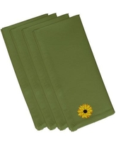 "August Grove Vieux Sunflower Power Flower Print Napkin ATGR6547 Size: 19""W x 19""L Color: Green"