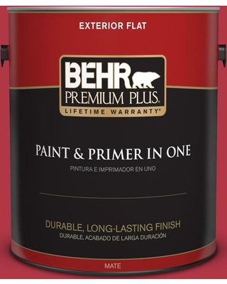 BEHR Premium Plus 1 gal. #140B-7 Frosted Pomegranate Flat Exterior Paint and Primer in One