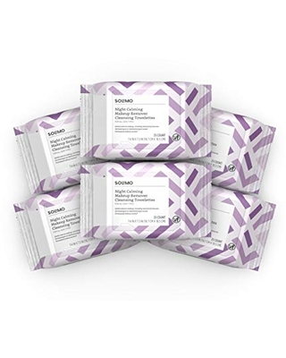 Solimo Make Up Remover Wipes, Night Calming, 25ct (Pack of 6)