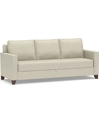Cameron Square Arm Upholstered Pull Up Platform Sleeper Sofa Polyester Wred Cushions Basketweave