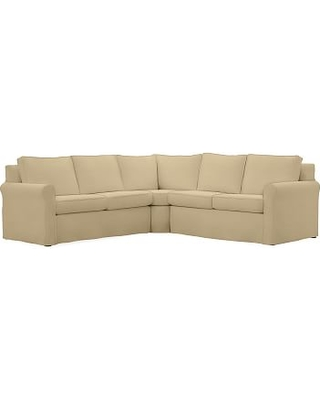 Cameron Roll Arm Slipcovered 3-Piece L-Shaped Wedge Sectional, Polyester Wrapped Cushions, Performance Everydaysuede(TM) Oat