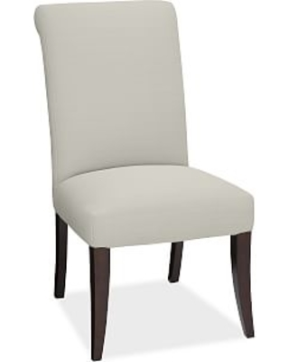 PB Comfort Roll Upholstered Dining Side Chair, Basketweave Slub Oatmeal