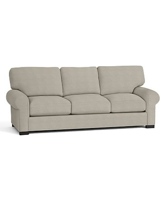 Turner Roll Arm Upholstered Sleeper Sofa With Robin Mattress, Polyester Wrapped Cushions, Performance Heathered Tweed Pebble