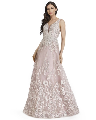 Morrell Maxie - 16249 Embroidered Deep V-neck A-line Gown