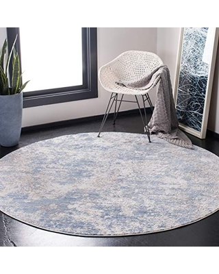 """Safavieh Amelia Collection ALA705F Modern Abstract Non-Shedding Stain Resistant Living Room Bedroom Area Rug, 6'7"""" x 6'7"""" Round, Grey / Blue"""