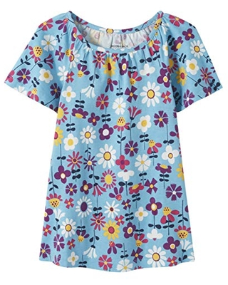 Moon and Back by Hanna Andersson Girls' Little Fashion Tee, Medium Turquoise, 8