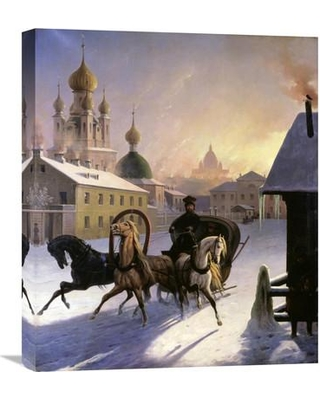 """Global Gallery 'Troika on St. Petersburg Street' by Carl von Hampeln Painting Print on Wrapped Canvas GCS-283337-22-142 / GCS-283337-30-142 Size: 22"""" H x 18.69"""" W x 1.5"""" D"""