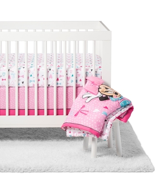 DisneyC Crib Bedding Set - Minnie Mouse - 4pc - All About the Bows, Size: standard crib, Pink
