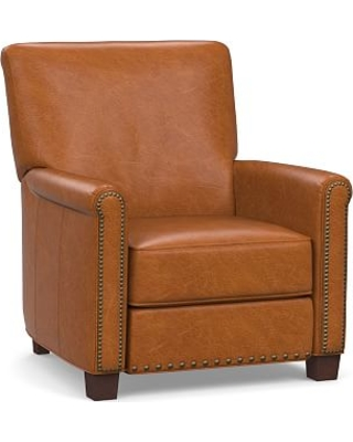 Irving Roll Arm Leather Power Recliner with Bronze Nailheads, Polyester Wrapped Cushions, Vintage Caramel