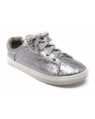 Forever Young Women's Metallic Weaved Textured Lace up Sneakers