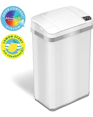 iTouchless 4 Gallon Sensor Trash Can with Odor Filter and Fragrance, Touchless Automatic Stainless Steel Waste Bin, Perfect for Office and Bathroom, Pearl White