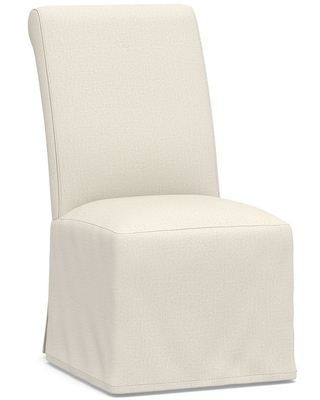 PB Comfort Roll Long Slipcovered Dining Side Chair, Espresso Frame, Performance Heathered Tweed Ivory