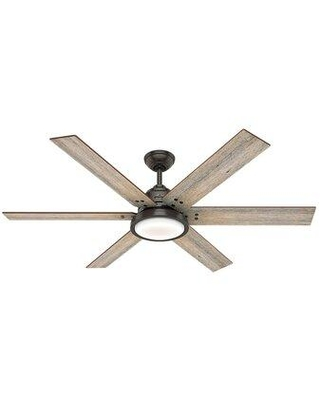 """Hunter Fan 60"""" Warrant 6 Blade LED Ceiling Fan with Light Kit Included 59461 Finish: Noble Bronze with Barnwood/Drifted Oak Blades"""
