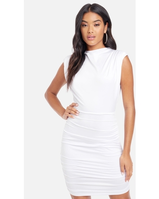 Bebe Women's Sleeveless Ruched Mock Neck Dress, Size Small in White Viscose