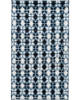 Ivory Blue/Black Shapes Flatweave Woven Accent Rug 3'X5' - Safavieh