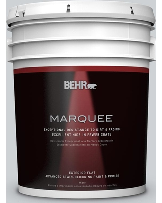 BEHR MARQUEE 5 gal. #N510-1 Silver Shadow Flat Exterior Paint and Primer in One