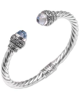 Balinese Blue Topaz and Sterling Silver Cuff Bracelet