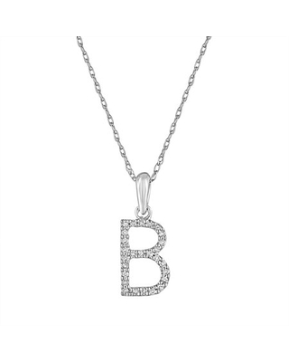 """Diamond Initial Letter B Pendant Necklace 14K Gold 1/10 CT TDW 16"""" Chain 16"""" Chain by Joelle Collection"""