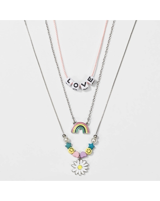 Girls' 3pk Layered Love and Rainbow Necklace - Cat & Jack