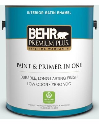 BEHR Premium Plus 1 gal. #W-D-520 Clear View Satin Enamel Low Odor Interior Paint and Primer in One