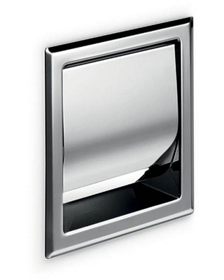 WS Bath Collections Toilet Paper Holder with Cover in Polished Stainless Steel