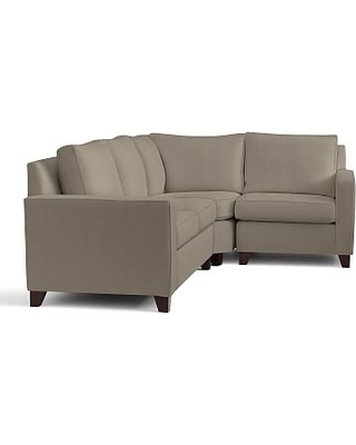 Cameron Square Arm Upholstered Left Arm 3-Piece Wedge Sectional, Polyester Wrapped Cushions, Performance Everydayvelvet(TM) Carbon