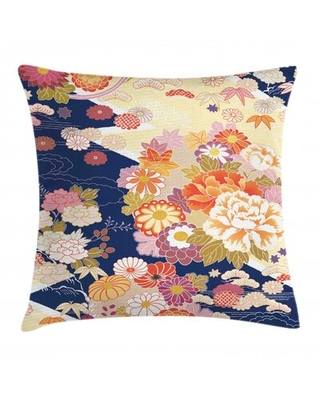 """Traditional Kimono Motifs Composition Indoor/Outdoor Floral 28"""" Throw Pillow Cover"""
