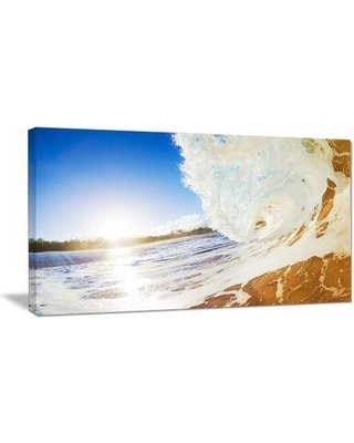 """Design Art Crashing Sandy Ocean Waves Modern Beach Photographic Print on Wrapped Canvas, Canvas & Fabric in Blue/White, Size 20"""" H x 40"""" W x 1"""" D"""