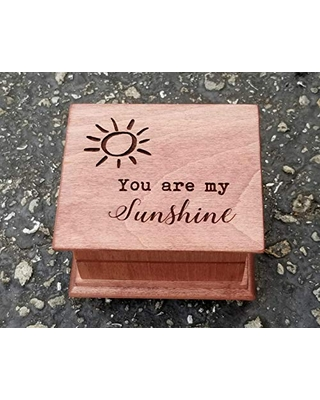You are my sunshine engraved music box on the top along with sun, great gift for mom or daughter,