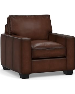 PB Comfort Square Arm Leather Armchair, Polyester Wrapped Cushions, Burnished Walnut