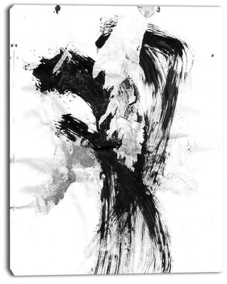 """'Black Paint Stain' Graphic Art Print on Canvas East Urban Home Size: 30 """" W x 40 """" H"""