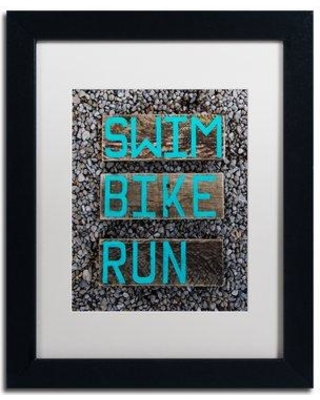 """Trademark Art 'The Triathlete' Framed Graphic Art on Canvas ND0129-B1 Size: 14"""" H x 11"""" W x 0.5"""" D Matte Color: White"""